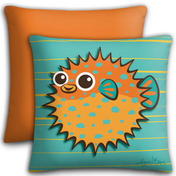 Puffer Fish - Orange on Turquoise, Premium Stuffed Pillow