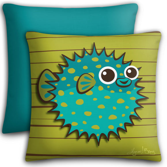 Puffer Fish - Turquoise on Avocado, Premium Stuffed Pillow