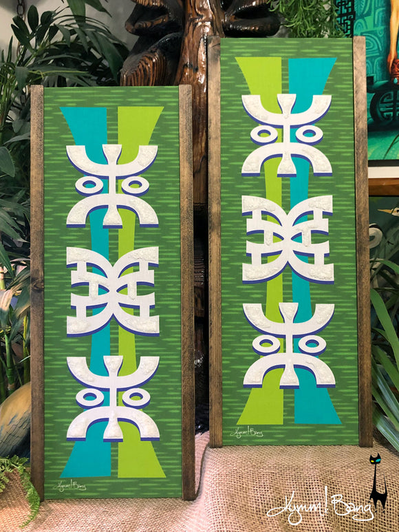 Tiki Abstractica - Turquoise and Green Gravel Art Pair