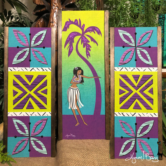 Aloha Girl - Lime and Purple Gravel Art Triptych