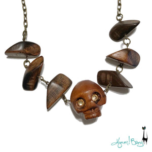 Tribal Skull Wood Necklace