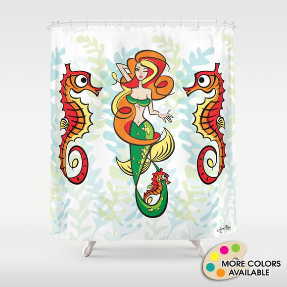 Retro Mermaid Shower Curtain