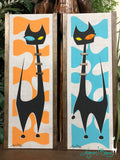 Roxy in Luausville - Black Cat on Orange and Turquoise Gravel Art Pair