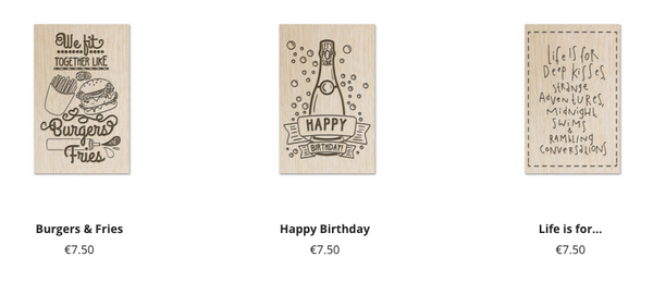 New in our webshop: wooden postcards!