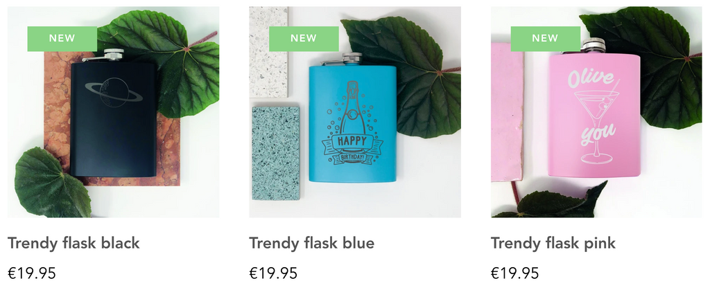 Trendy Flasks overview of coloured flasks which can be personalised