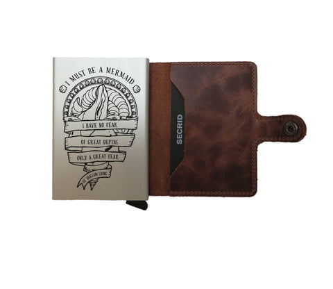 Brown secrid miniwallet wallet with engraving