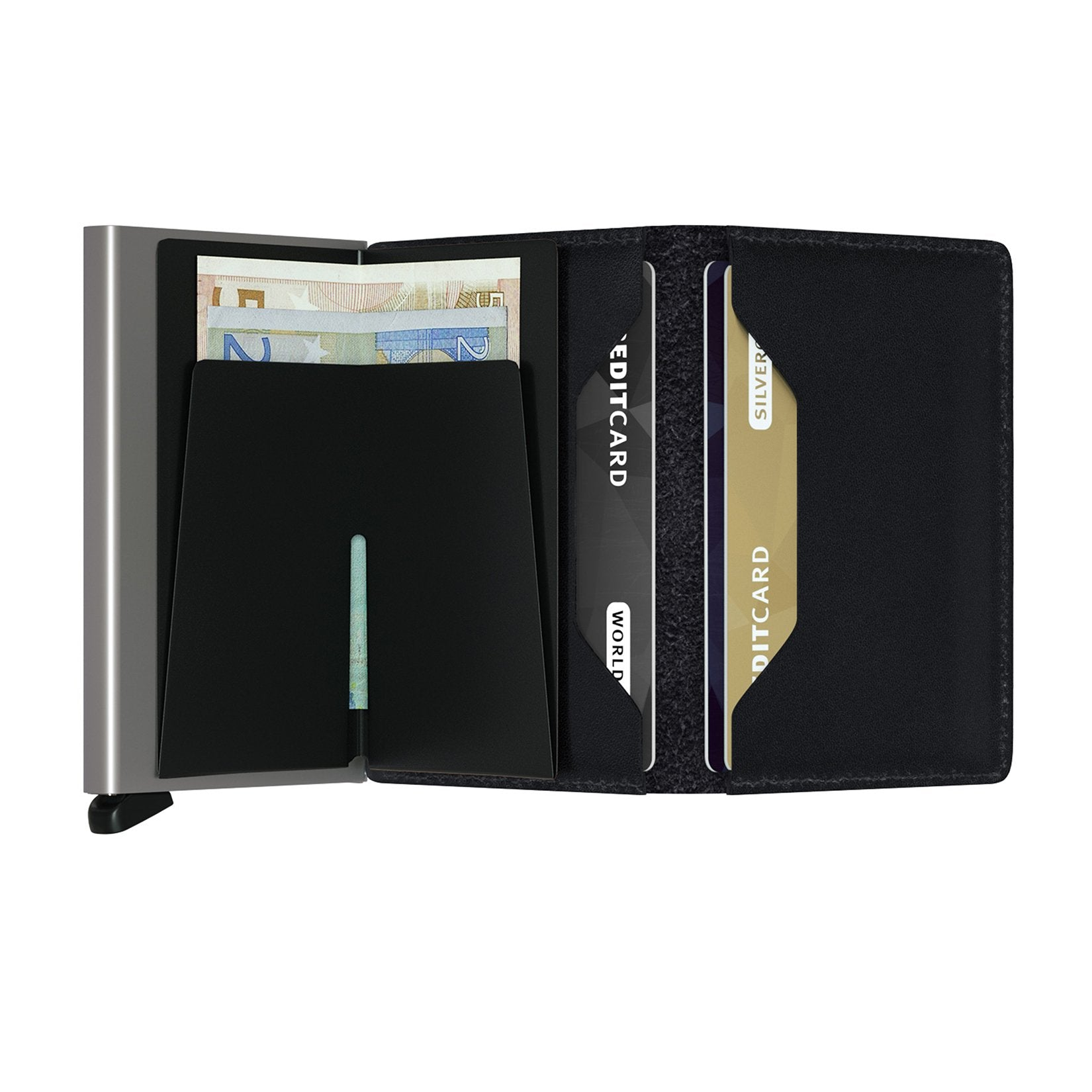 Slimwallet original black open with banknotes