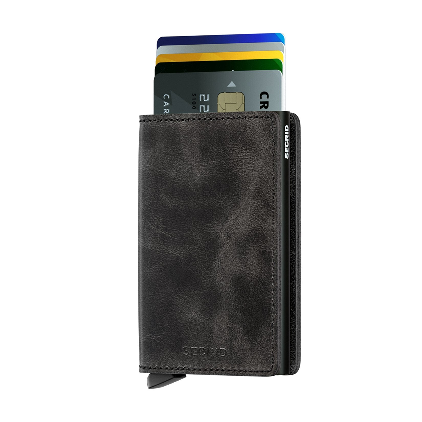 Slimwallet vintage black with 6 cards