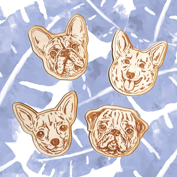 Engraving wooden coasters | Dogs
