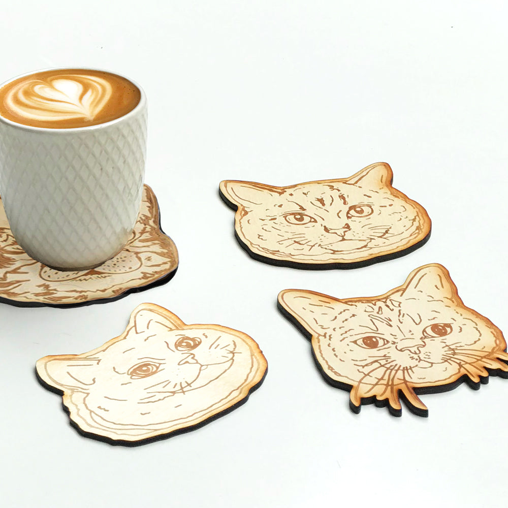 Engraving wooden coasters | Cats