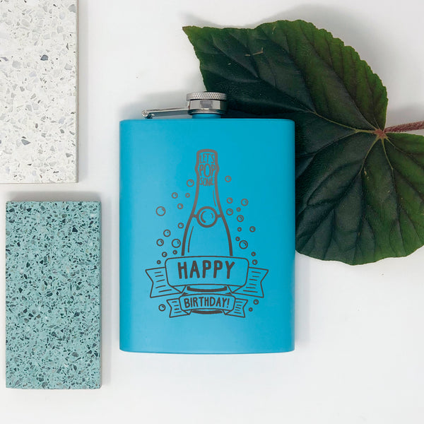 flask with blue coating