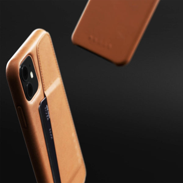 Mujjo wallet case iPhone 11 tan