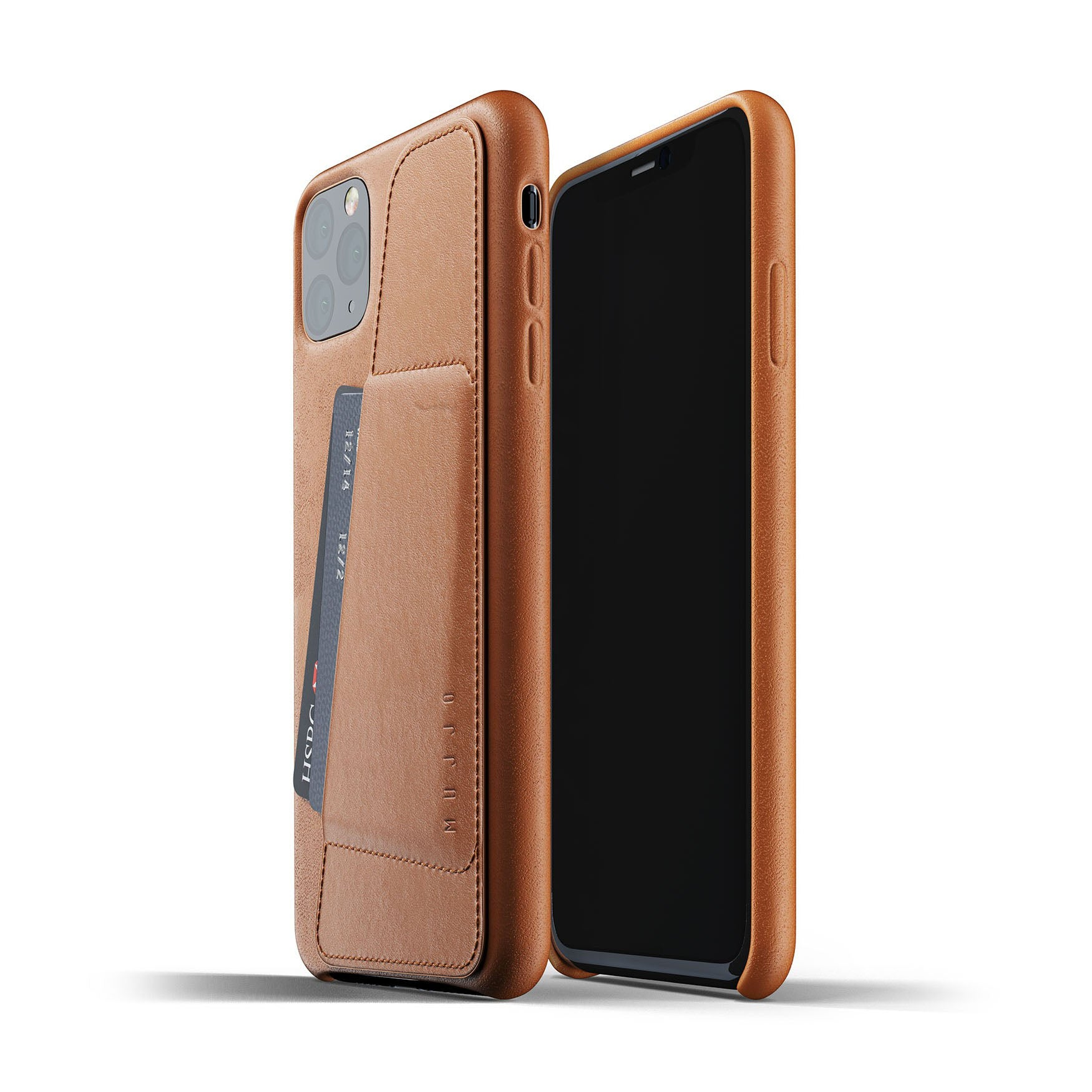 Mujjo wallet case iPhone Pro Max tan
