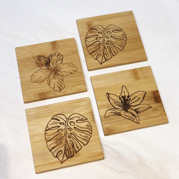 Bamboo coasters with box