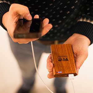 Wooden phone chargers for WeTransfer