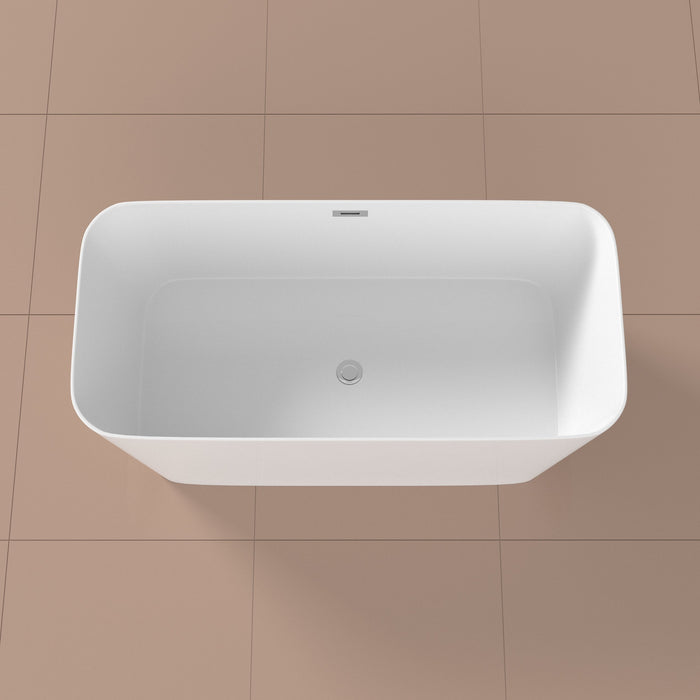 "59"" Solid Surface Resin K-10200-59FSWHSS-FM Soaking Freestanding Tub and Tray with Internal Drain"