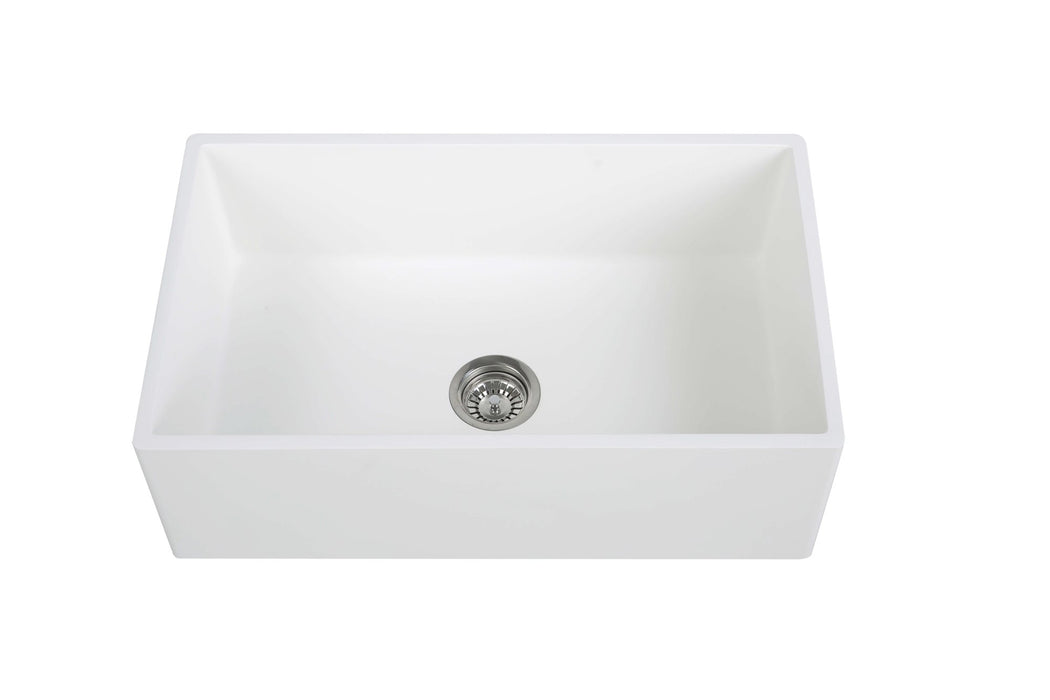 30'' Streamline K-1830-KS-30 Reversible Solid Surface Resin Kitchen Sink With Stainless Steel Grid and Strainer