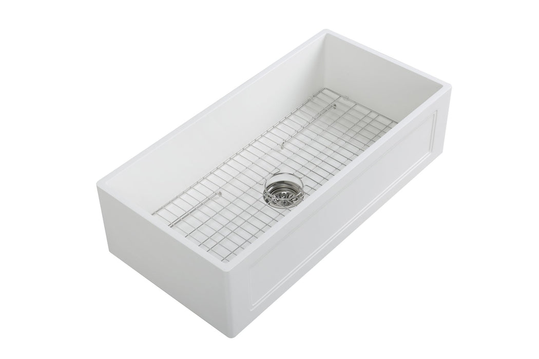 36'' Streamline K-1836-KS-36ART Reversible Solid Surface Resin Kitchen Sink With Stainless Steel Grid and Strainer