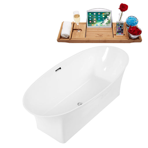 "67"" Solid Surface Resin K-92-70FSWHSS-FM Soaking Freestanding Tub and Tray with Internal Drain"