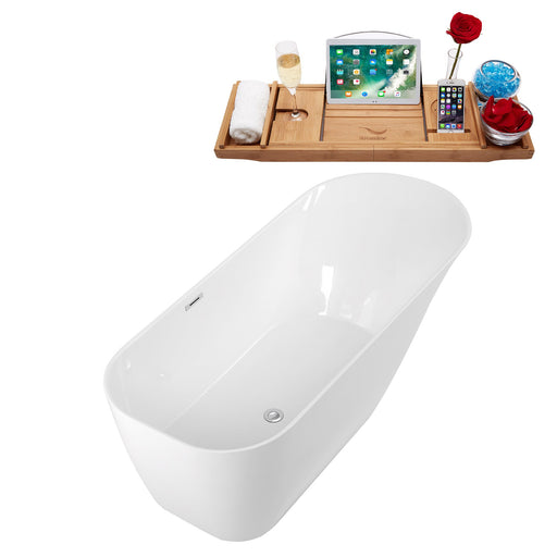 "67"" Solid Surface Resin K-93-70FSWHSS-FM Soaking Freestanding Tub and Tray with Internal Drain"