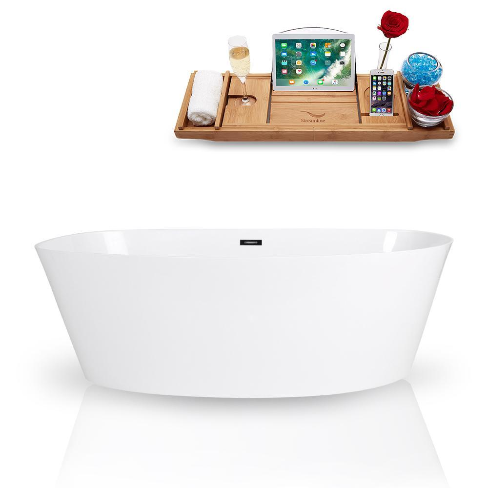 "67"" Streamline Solid Surface Resin K-98-67FSWHSS-FM Soaking Freestanding Tub and Tray with Internal Drain"