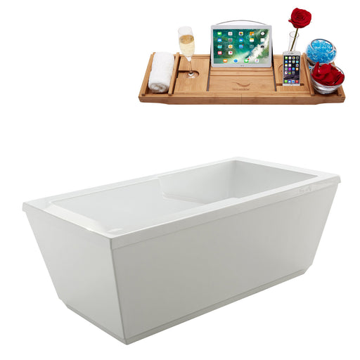 "59"" Streamline M-2021-59FSWH-DM Soaking Freestanding Tub and Tray With Internal Drain"