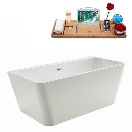 "59"" Streamline M-2061-59FSWH-DM Soaking Freestanding Tub and tray With Internal Drain"