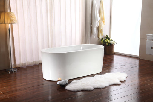"67"" Streamline M-2080-67FSWH-FM Soaking Freestanding Tub and tray With Internal Drain"