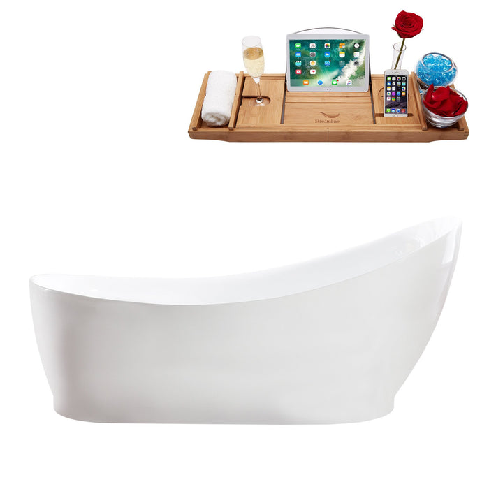 "68"" Streamline M-2140-68FSWH-FM Soaking Freestanding Tub and tray With Internal Drain"