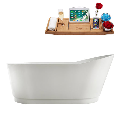 "67"" Streamline M-2320-67FSWH-DM Soaking Freestanding Tub and tray With Internal Drain"
