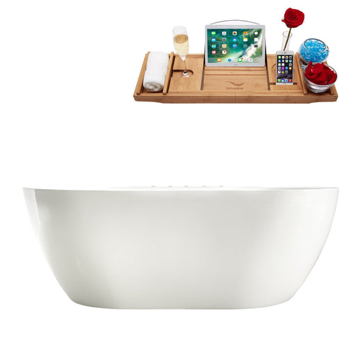 "67"" Streamline M-2340-67FSWH-DM Soaking Freestanding Tub and tray With Internal Drain"