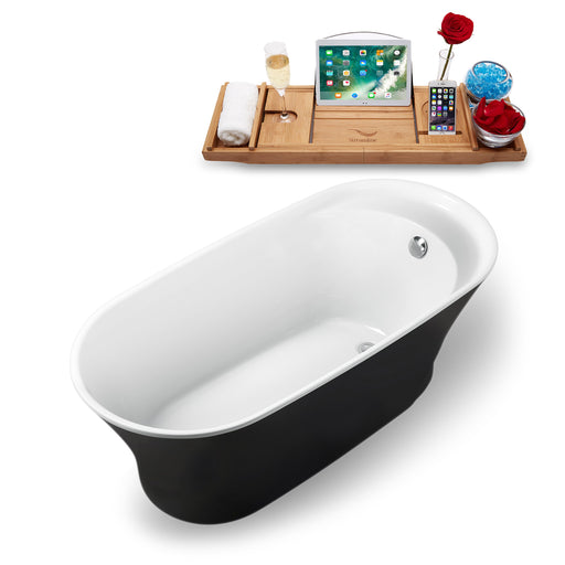 "59"" Streamline N-1161-59FSBL-FM Freestanding Tub and Tray With Internal Drain"