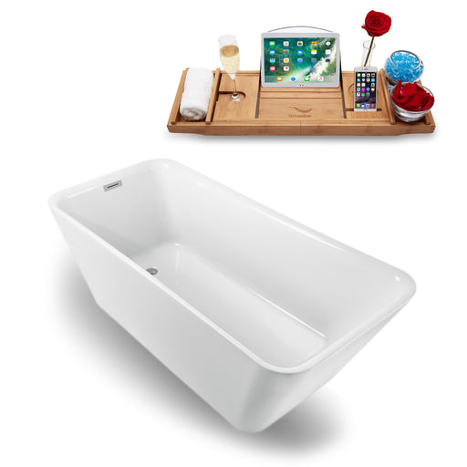 "70"" Streamline N-1220-67FSWH-FM Freestanding Tub and Tray With Internal Drain"