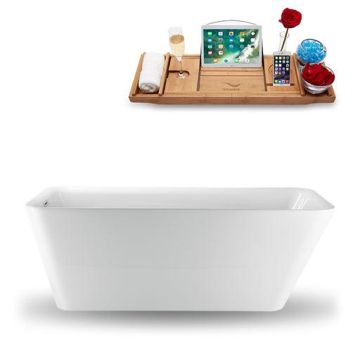 "59"" Streamline N-1221-59FSWH-FM Freestanding Tub and Tray With Internal Drain"