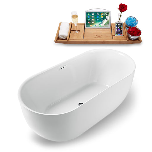 "59"" Streamline N-1241-59FSWH-FM Freestanding Tub and Tray With Internal Drain"
