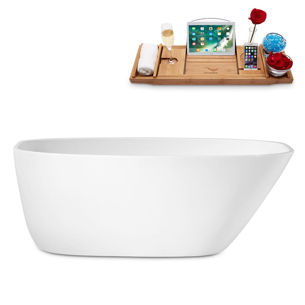 "59"" Streamline N-1780-59-FSWH-FM Freestanding Tub and Tray With Internal Drain"