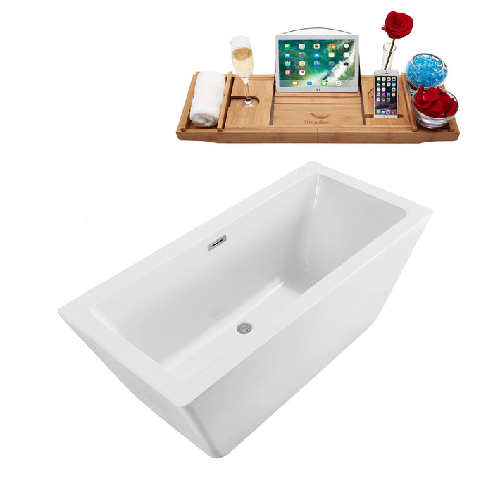 "60"" Streamline N-320-60FSWH-FM Soaking Freestanding Tub and Tray With Internal Drain"