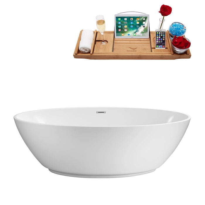 "63"" Streamline N-420-63FSWH-FM Soaking Freestanding Tub and Tray With Internal Drain"