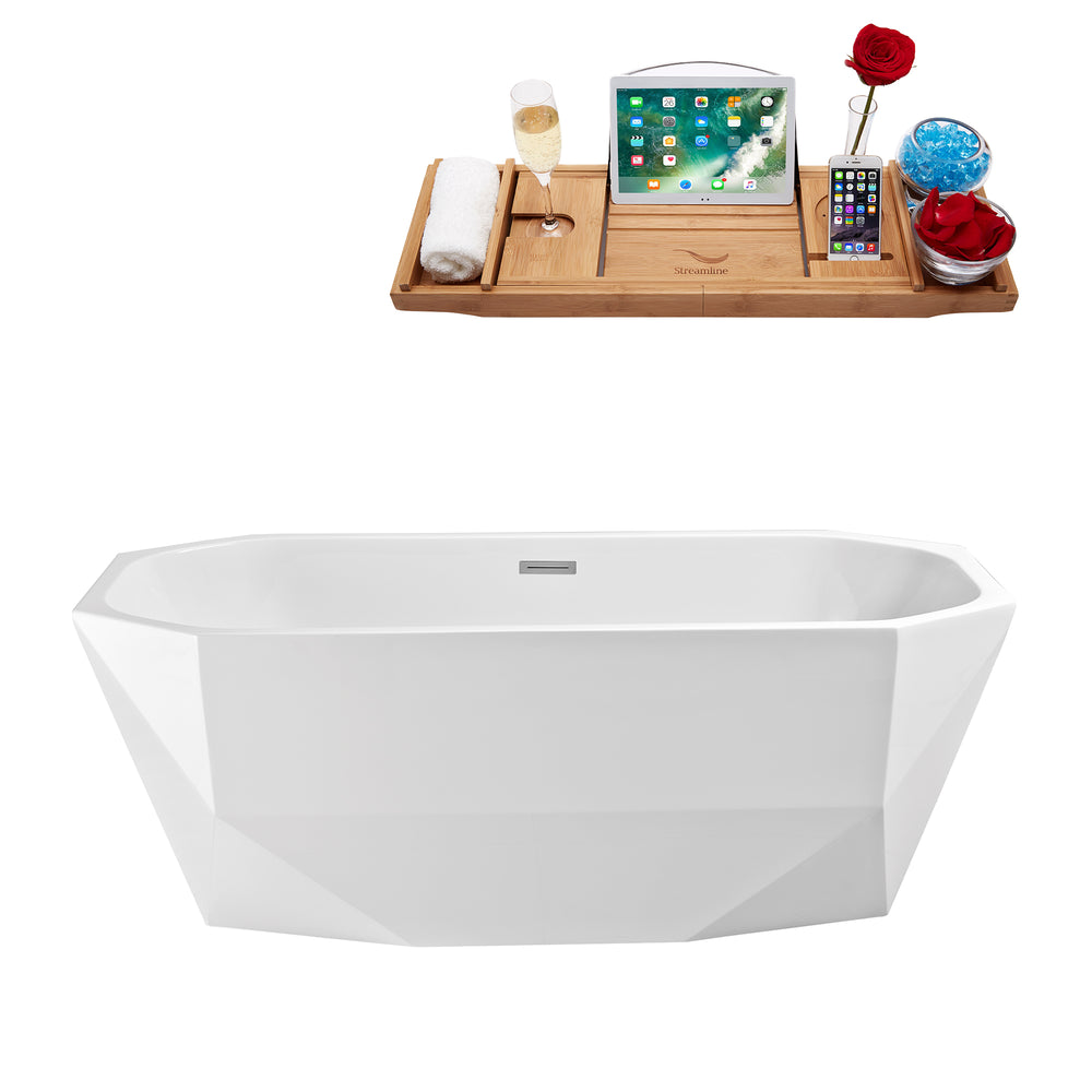 "59"" Streamline N-621-59FSWH-FM Freestanding Tub and Tray With Internal Drain"