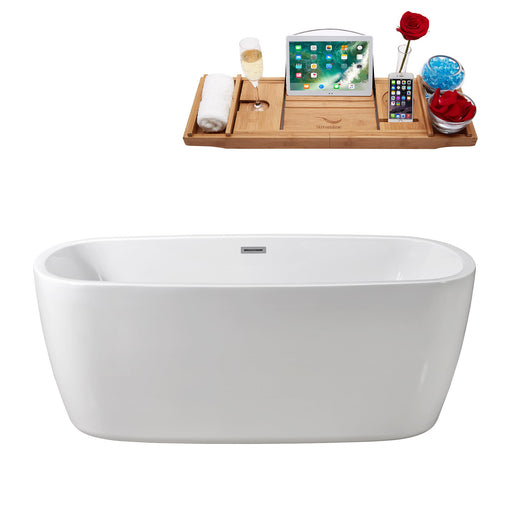 "59"" Streamline N-780-59FSWH-FM Soaking Freestanding Tub and Tray With Internal Drain"