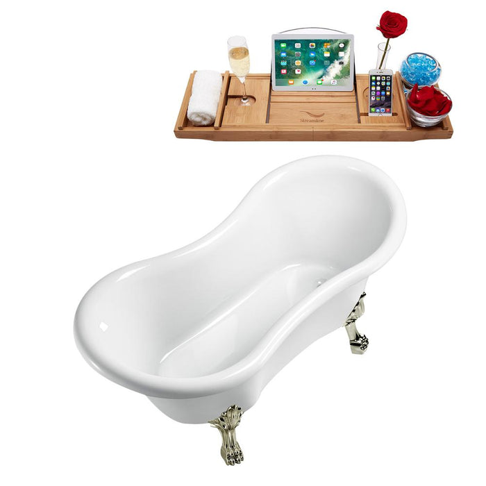 "62"" Streamline N1020BNK-IN-ORB Clawfoot Tub and Tray With Internal Drain"