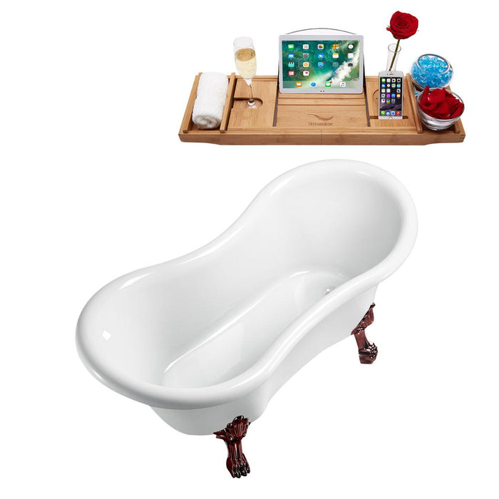 "62"" Streamline N1020ORB-IN-WH Clawfoot Tub and Tray With Internal Drain"