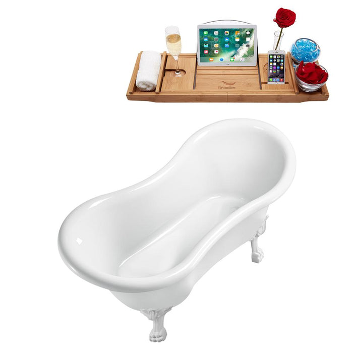 "62"" Streamline N1020WH-IN-WH Clawfoot Tub and Tray With Internal Drain"