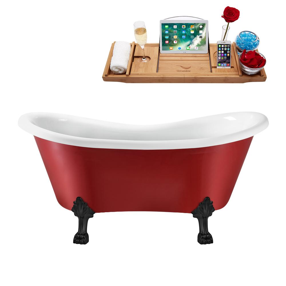 "62"" Streamline N1021BL-IN-BL Clawfoot Tub and Tray With Internal Drain"