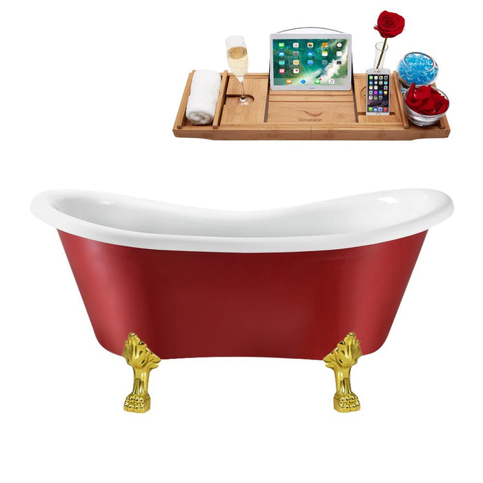 "62"" Streamline N1021GLD-IN-ORB Clawfoot Tub and Tray With Internal Drain"