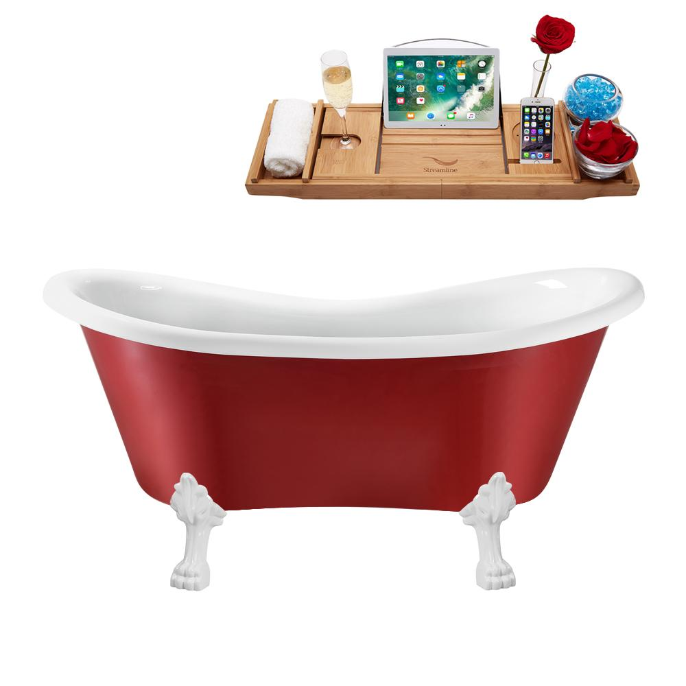 "62"" Streamline N1021WH-IN-BL Clawfoot Tub and Tray With Internal Drain"