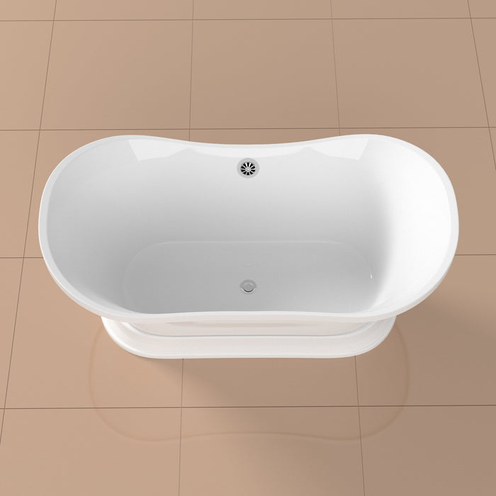 "60"" Streamline N10280CH Soaking Freestanding Tub and Tray With External Drain"