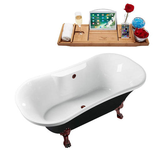 "68"" Streamline N103ORB-ORB Clawfoot Tub and Tray With External Drain"