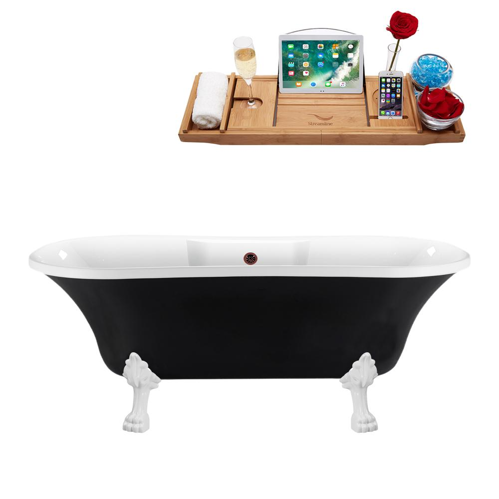"68"" Streamline N103WH-ORB Clawfoot Tub and Tray With External Drain"