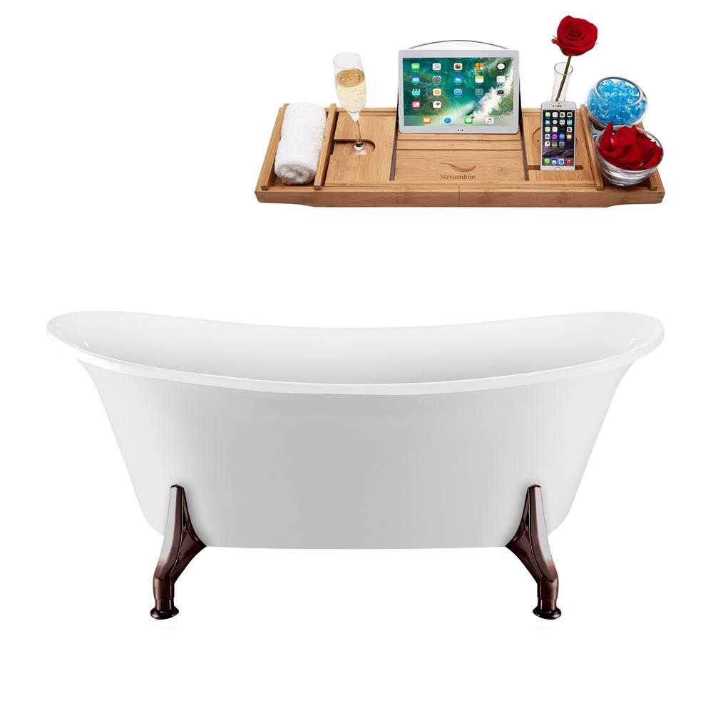"59"" Streamline N1080ORB-IN-BNK Clawfoot Tub and Tray With Internal Drain"